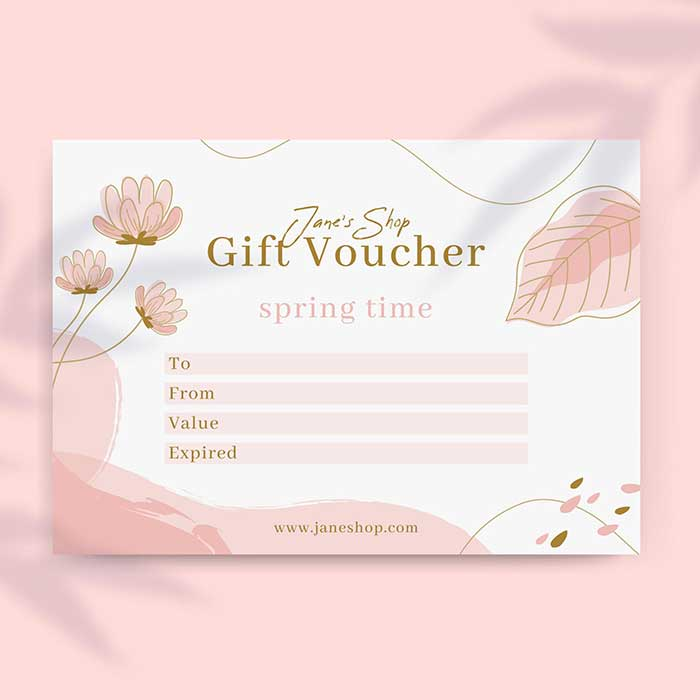 Single card gift voucher printing