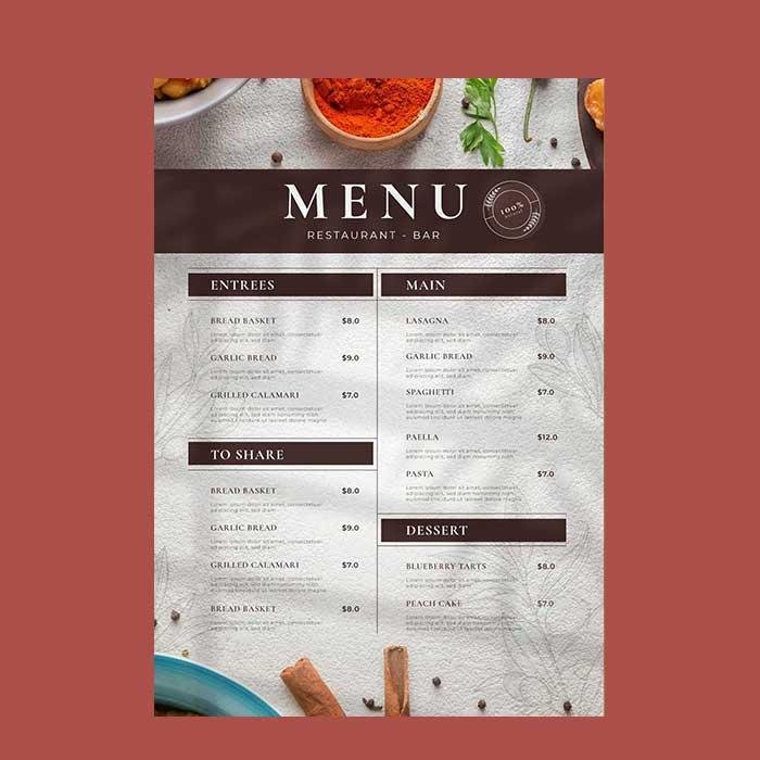 restaurant-menu printing
